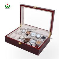 Wholesale Deal Watch - Today's Deal ,Big Discount in DHgate Supply 12 Grids Wood Watch Display Jewelry Case Box Storage Holder Leather, Glass Top Jewelry case