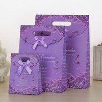 Wholesale Cookies Packaging Christmas - 200pcs 3 Sizes Lovely Purple Craft Paper Gift Bag For Candy Cookie Makeup With Handle Christmas Wedding Bags Party Favors Packaging ZA0928