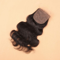Wholesale Bleached Knots Silk Base - 8A Body Wave Cheap Silk Base Closure Brazilian Hair 4*4inch Bleached Knots Free Middle Three Part Peruvian Silk Base closure
