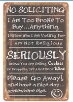 Wholesale I Buy Wholesale - No soliciting I am too broke to buy Vintage sign Decorative Retro Metal Poster Tin Sign