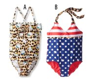 Wholesale Girls Leopard Print Bathing Suits - One Piece Kids INS leopard swimsuit 3D kitty print Swimsuit Brand new Kids American flag Swimwear Girls Bathing Suits Girls stars Swimwear