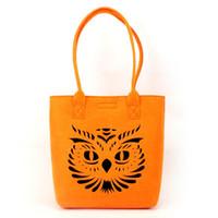 Wholesale Print Logo Handbag - Felt Shopping bags Handbag Tote Shoulder bags Laser hollow out design Free Shipping Can add logo