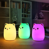 Wholesale Plastic Figurines Animals - New Colorful Silicone Soft USB Rechargeable Animal Night Light Cute Cat Table Lamp Adults Children Baby Bedroom LED Light Nursery Night Lamp