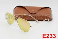 Wholesale Mens Glasses Sport - 1pcs High Quality Mens Womens Designer Sunglasses Pilot Sun Glasses Gold Frame Colorful Flash Pink Mirror Glass Lenses Better Brown Cases