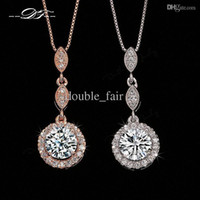 Wholesale Vintage Mexican Copper - Vintage CZ Diamond Necklace Micro Pave 18K Rose Gold Platinum Plated Necklace & pendants Crystal Wedding Jewelry For Women DFN428   DFN429