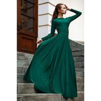 Wholesale Modest Prom Dresses Straps - Vestido De Noite Longo 2016 Elegant Dark Green Evening Dresses Long Sleeve Gowns Modest Long prom Gowns
