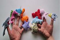 Wholesale Ocean Plush Toys - Ocean Finger Puppets Set Baby Finger puppet Plush Toys Octopus Dolpin Shark Various Animal Finger Puppet Baby Educational Toys