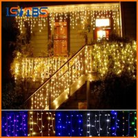 Wholesale Led Icicle Curtain - 2017 christmas outdoor decoration 3.5m Droop 0.3-0.5m curtain icicle string led lights 220V 110V New year Garden Xmas Wedding Party