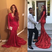 Wholesale High School Prom Dresses - Red Sequined Hot 2K16 Prom Dresses Mermaid V Neck Long Sleeves African American Sweep Train Junior High School Party Celebrity Evening Gowns