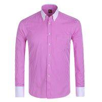 boutons pour manches de chemises pour hommes achat en gros de-Gros-Offre spéciale / Été 2016 Mens manches longues bouton vers le bas Pinpoint-Stripe Dress Shirt classique-fit Confort Soft Chemises formelles