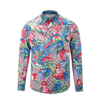 Wholesale floral printed sweater - casual medusa shirts 2017 Autumn winter Harajuku gold chain Dog Rose print Fashion Retro floral sweater Men's long sleeve tops shirts M-3XL