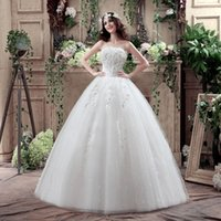 Wholesale Wedding Dress Shirt For Women - Under $100 In Stock US 2-10 Ball Gown Tulle Wedding Dresses Handmade Flowers Strapless Bridal Dress For Women (3 Hoops Petticoat is free)