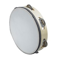 """Wholesale Percussion Tambourine Drum - Wholesale-JHO-8"""" Musical Tambourine Drum Round Percussion Gift for KTV Party"""