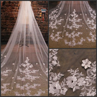 Wholesale Long Bridal Veil Beaded Lace - 2016 Wholesale Bridal Veils Styles Tulle Wedding Veils Lace Beaded Long Accessories