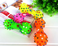 Wholesale toy dumbbells for sale - Group buy Fashion Hot Dog Toys Colorful Dotted Dumbbell Shaped Dog Toys Squeeze Squeaky Faux Bone Pet Chew Toys For Dogs