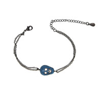 цепи черепа оптовых-2017 design cool girlfriend gift customized rose Cute African cz turquoise BLACK skull double link chain bracelets
