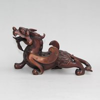 Wholesale Evil Statue - Chinese Red Bronze Fengshui Flying Pixiu Pair unicorn Beast Evil Spirits Statue home decoration