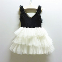 Wholesale Tutus Diamonds Wholesale - 2016 Baby Girls Tulle Lace Dresses Kids Girls Princess tutu Party Dress Girl Summer V-neck Diamond Dress Children's Christmas Clothing