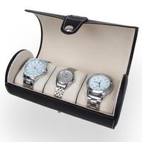 pantalla rodante al por mayor-Venta al por mayor portátil de viaje caja del reloj del rollo de 3 ranuras caja de reloj de pulsera de almacenamiento bolsa de viaje reloj de pulsera caja de reloj de almacenamiento caja de reloj