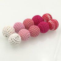 Wholesale Crochet Round Pattern - DIY Chunky wooden crochet beads,56 colors, teething nursing round beads,knitted bead wooden beads handmade 60 PCS pattern WC013