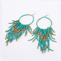 Wholesale Wholesale Beaded Chandeliers - Vintage Bohemia Handmade Beaded Earrings Multilayer Tassels Bead Dangle Earrings Fashion Femal Jewelry Special Store DHE886