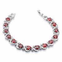 regalos para ruby aniversario de boda al por mayor-Rellecona Jewels Ruby Bridal Wedding Pulseras 18k oro blanco plateado GP pulsera 7