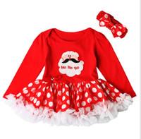 Wholesale Santa Claus Headbands - Christmas Costume Baby Girls Tutu Dress and Headband Newborn Baby Girl Clothes Santa Claus Tutu Cake Dresses KKA2399