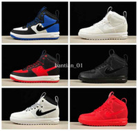 Wholesale Force Shoes - 2017 Hot Lunar Duckboot KPU AF1 Running Shoes Sneakers X Retro 1 Bred Red Sports Shoes Brand Designer Forces One Sneakerboot Boots 7-13