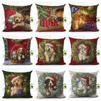 ingrosso decorazione di natale di natale di stampa-Natale 3D animale stampa Pillow Case Xmas Carino Pet Copertura del cuscino Gatto Cuscino per cani Divano Nap Cuscino Copre Animale Home Decor 45 * 45 cm