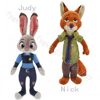 Wholesale Wholesale Stuffed Fox - 2PCS LOT 23cm Zootopia Plush Dolls Nick Wilde Fox Judy Hopps Rabbit Stuffed Cartoon Cute Toys Gift For Kids Free Shipping