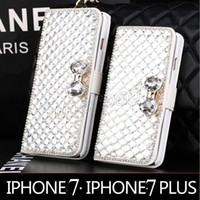 Wholesale flip leather case smartphone online – custom Rhinestone Phone Cover Stands Holder Flip Leather Phone Case Bling Diamond Cover Case For iPhone i7 plus Samsung S6 Smartphone