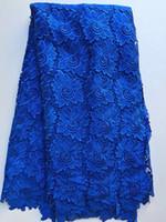 cordon africain dentelle bleue achat en gros de-5 Yards / pc Dentelle guipure soluble dans l'eau de motif de fleur lisse, Tissu africain royal et bleu de dentelle de corde pour l'habillement ZQW6-3
