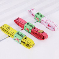 Wholesale Diet Clothes - Wholesale-Free Shipping 1.5M 60inch Soft Flat Tape Ruler Mini Colourful Tailor Diet Body Clothes Measure