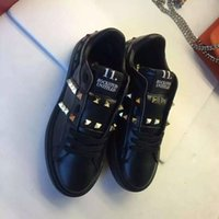 Wholesale Studs Sneaker - high quality~fashion luxury designer u611 40 41 42 43 44 45 46 black white genuine leather stud sneakers shoes casual unisexy women men