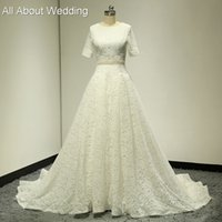 Wholesale Wedding Dresses Round Back - Fake Two Piece Lace A line Short Sleeve Wedding Dresses Chapel Train Round Neck Lace up Back Factory Custom Made