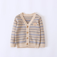 Wholesale Boys Sweaters Long Sleeved Tops - Everweekend Boys Stripe Bear Sweater Cardigans Western Fashion Cute Baby Jackets Outwears Autumn Spring Children Tops