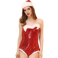 sıcak seksi vücut iç çamaşırı toptan satış-Seksi Bodysuit Noel Seksi Lingerie Set Sıcak Vücut Takımları Kadınlar için Sequins Stripper Giyim Nuisette Seksi Kostümleri Cosplay Kırmızı
