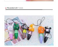 Wholesale wood pen animals resale online - wooden cartoon animal ballpoint pen pendant Korea creative stationery cute phone chain Portable portable pen