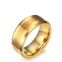 Wholesale Mens Wedding Ring Tungsten 13 - Free Engraving 8mm Gold Tungsten Carbide Ring Matte Brushed Center Beveled Edge Mens Wedding Band US Size7-13(Leave Message About Engraving)