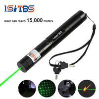 Wholesale High Power Laser Waterproof - LED Flashlight 5000m Laser 303 Laser Pointer High Power Green Laser Presenter Star Pattern Filter Safe Key with 18650 Battery