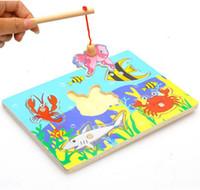 juguetes de peces para niños al por mayor-Venta al por mayor-Nueva de madera juego de pesca magnética Jigsaw Puzzle Junta niños de juguete