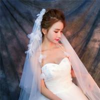véus de noiva china venda por atacado-Véus por atacado Na China Real amostra fotos Roxo Branco Véus para Noivas Marfim Tulle Rápido Frete grátis para fora