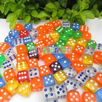 Wholesale Game Points - 100pcs 16MM More 6 colors Dice Transparent point 1-6 automatic game KTV mahjong machine dice IVU