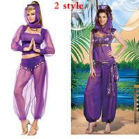 Wholesale Genie Aladdin Costumes - Wholesale-2016 New Sexy GENIE Jasmine Aladdin Princess Costume Fancy Dress Arabian Belly Dancer Dress Costume