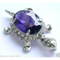 Wholesale Jade Purple Circle Pendant - 2016 new of Peking, China jade bracelet <<Jewelry Tortoise Purple Crystal Silver Plate Pendant Necklace + Free Chain