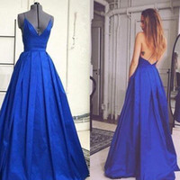 Fashion Backless Lange Abendkleid New Arraived 2017 Royal Blue A-Line Prom Party Kleider V-Ausschnitt Criss Cross Straps Anlass Kleider