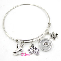 Wholesale ice skating - Newest Wholesale Interchangeable Snap Jewelry Snowflake Gloves Ice Skate Charms Adjustable Expandable Wire Snap Bangles Bracelets Jewelry