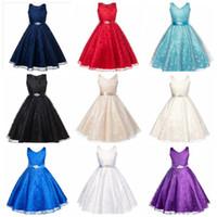rhinestone azul vestidos de novia al por mayor-Vestido de novia de niña grande vestido de princesa de encaje sin mangas falda de los niños con cinturón de diamantes de imitación niños boutique de ropa