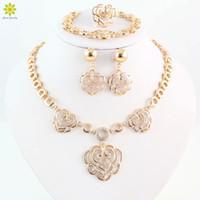 Wholesale Earings Bracelets - African Women Party Beads Jewelry Set Gold Set Necklace Bracelet Ring Earings Jewelry Gold Plated Jewelry Set