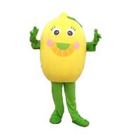 Wholesale Lemon Fancy Dress - Hot Fruits lemon Costume Halloween Christmas Fruits Yellow Cartoon Mascot Clothing Party Fancy Dress Adult Pear Size New Style